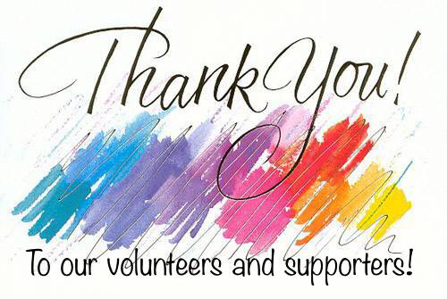 Thank you to our volunteers and supporters 5 15 17